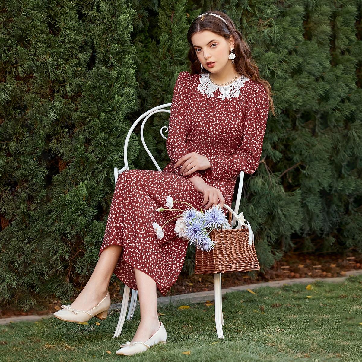 Контрастные кружева цветочный Винтажный Платье