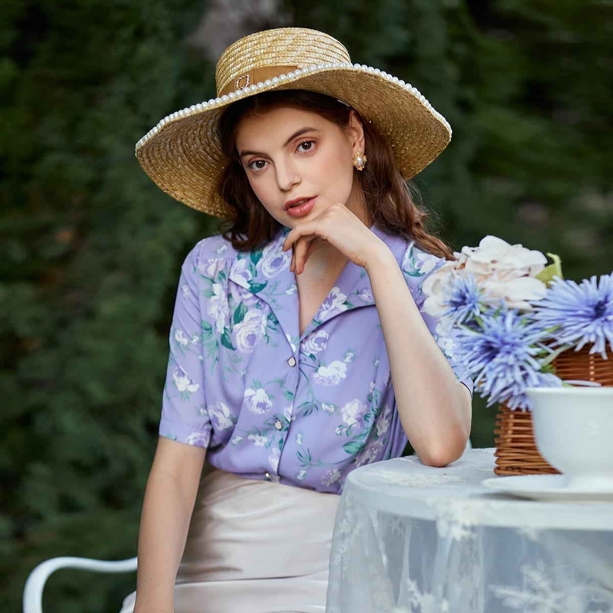 Пуговица Цветочный Повседневный Блузы