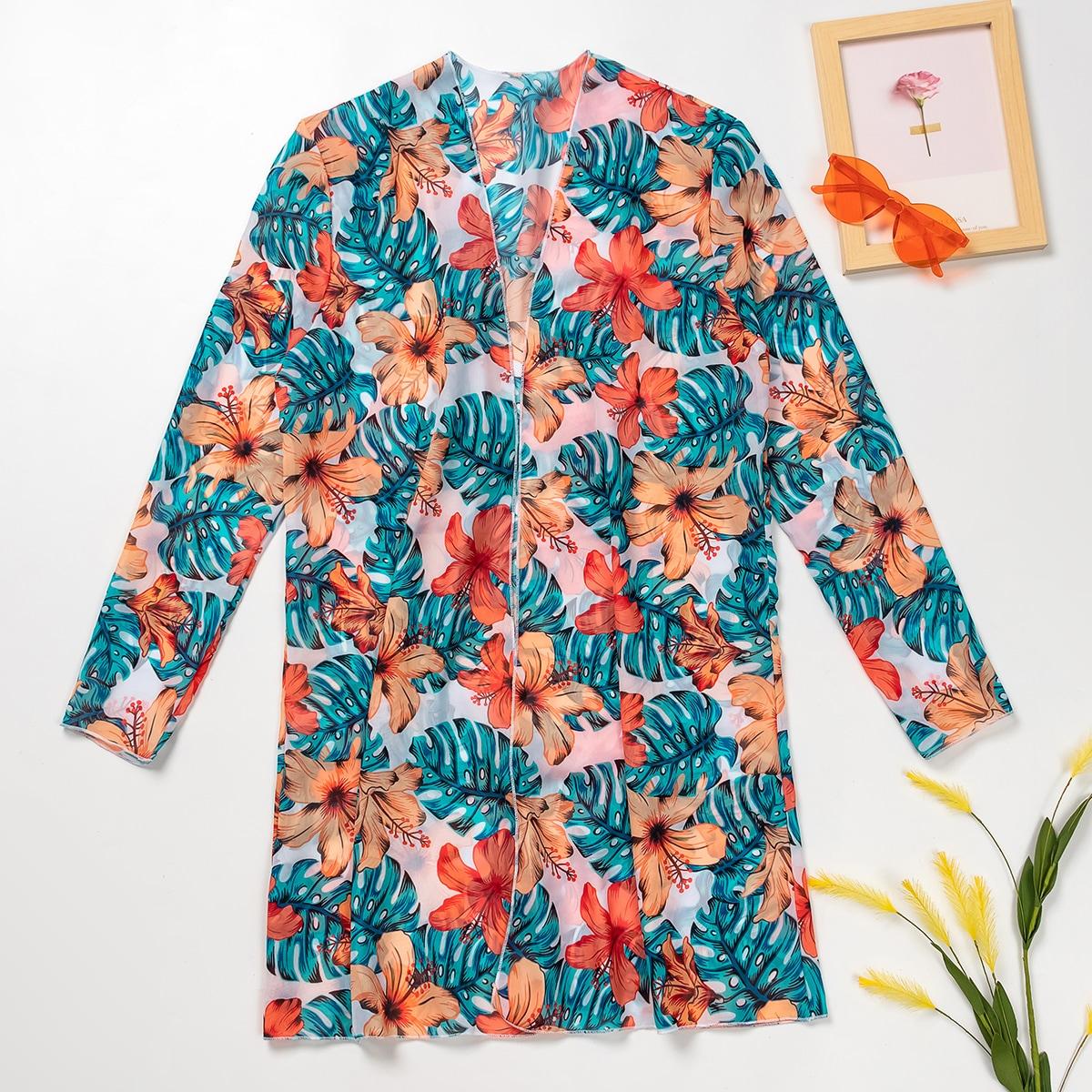 Кимоно с цветочным и тропическим принтом