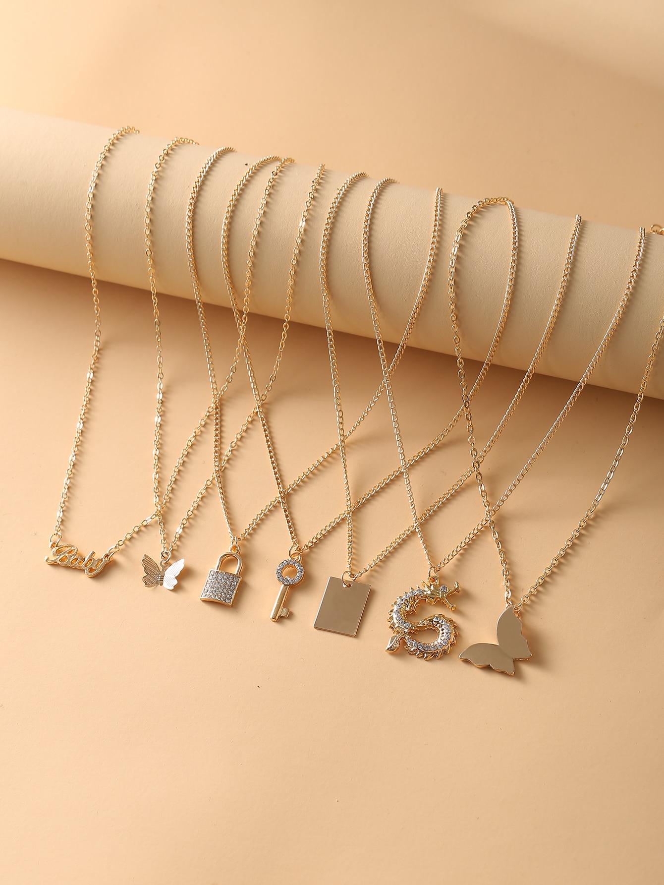 7pcs Dragon & Butterfly Charm Necklace thumbnail