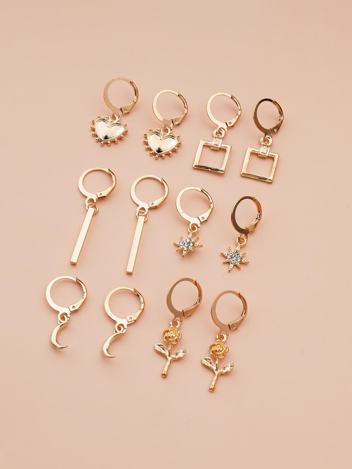 6pairs Rhinestone Star Drop Earrings thumbnail