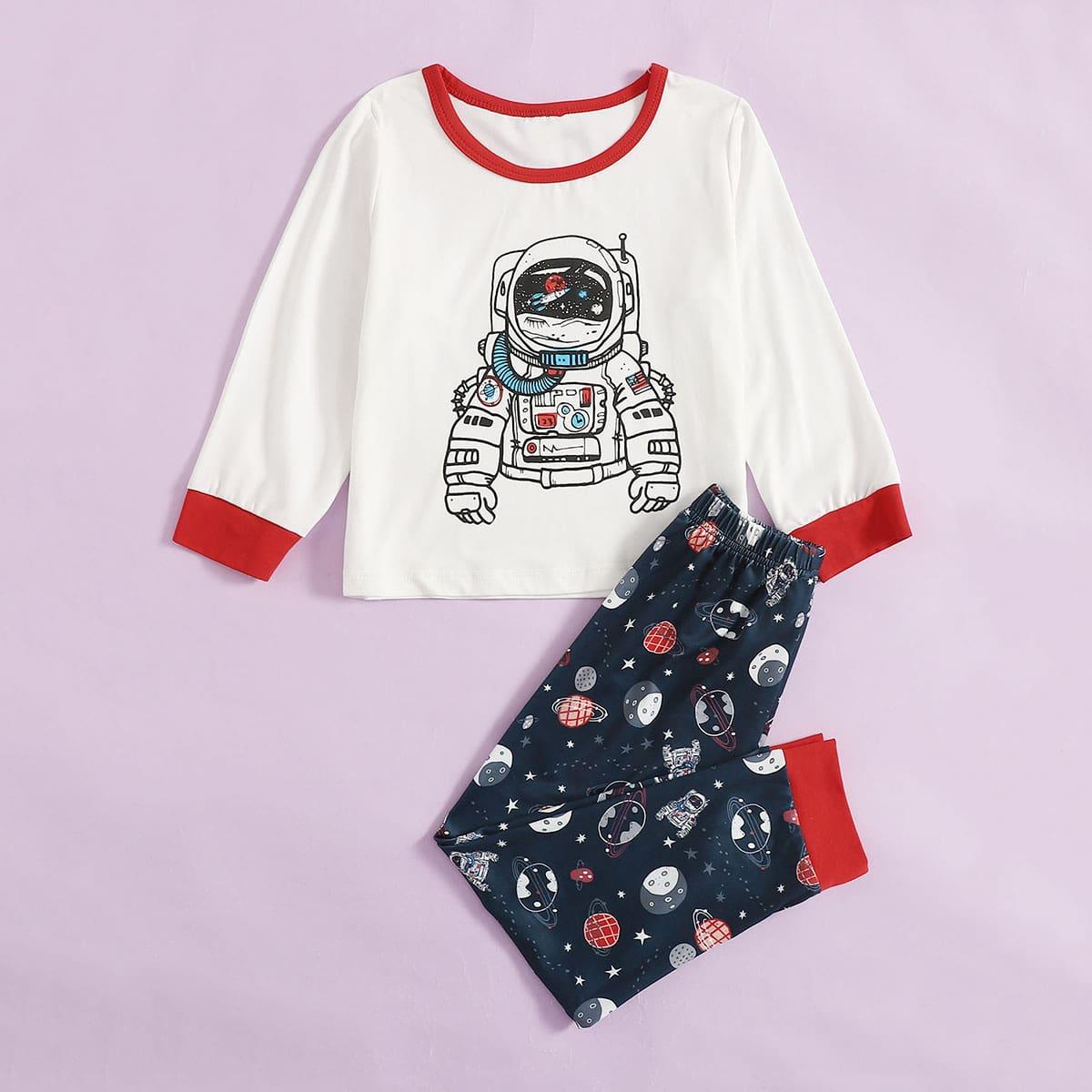 Контрастная отделка мультяшный принт повседневный домашняя одежда для мальчиков