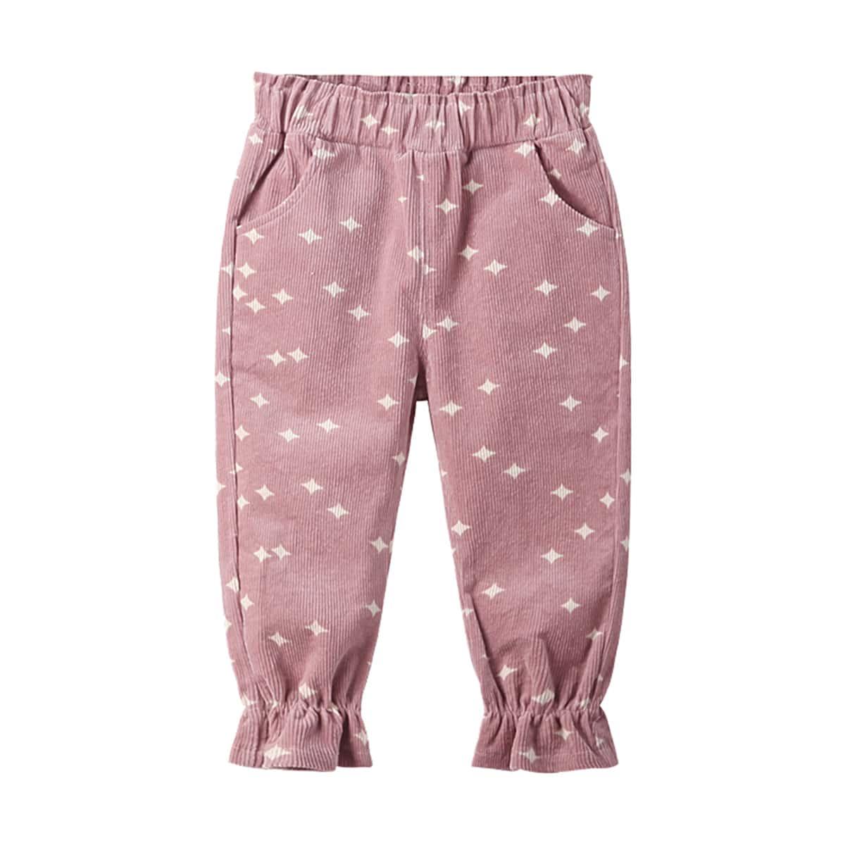 С оборками геометрический повседневный брюки для маленьких девочек