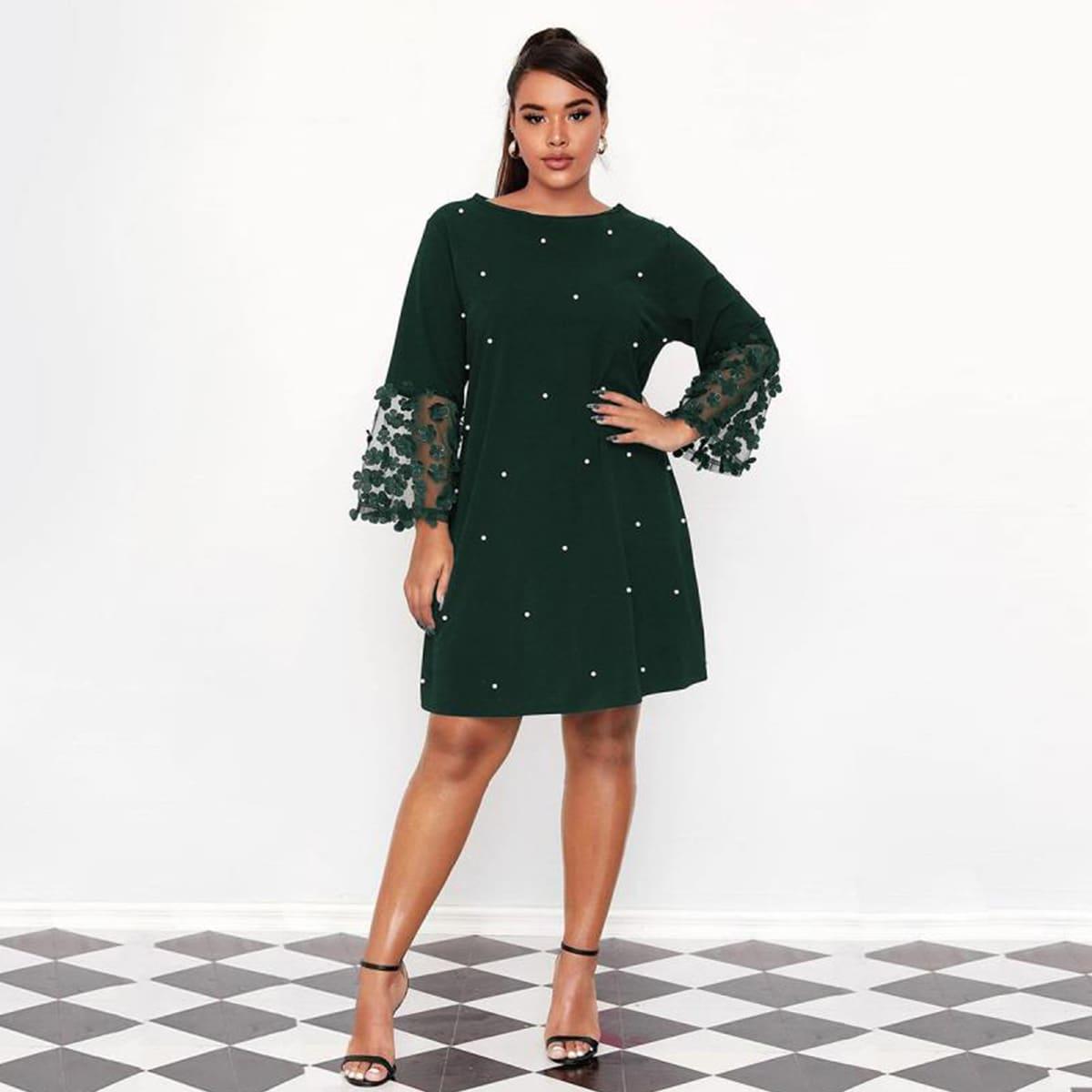 Аппликация Цветочный Элегантный Платья размер плюс