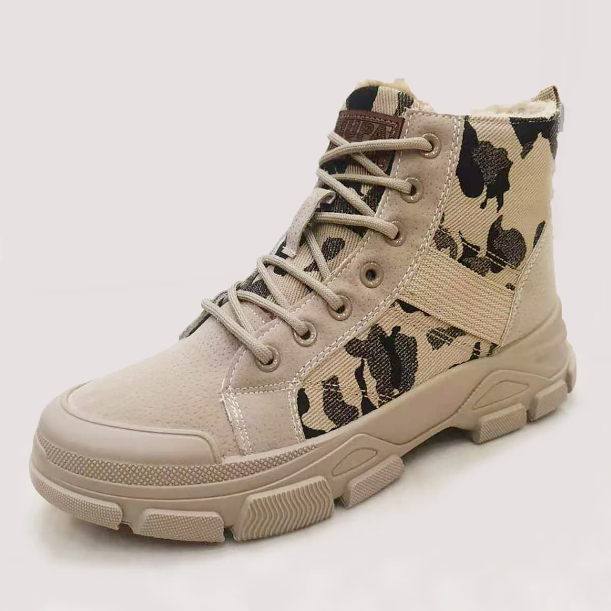 Men Lace Up Front Warm Combat Boots