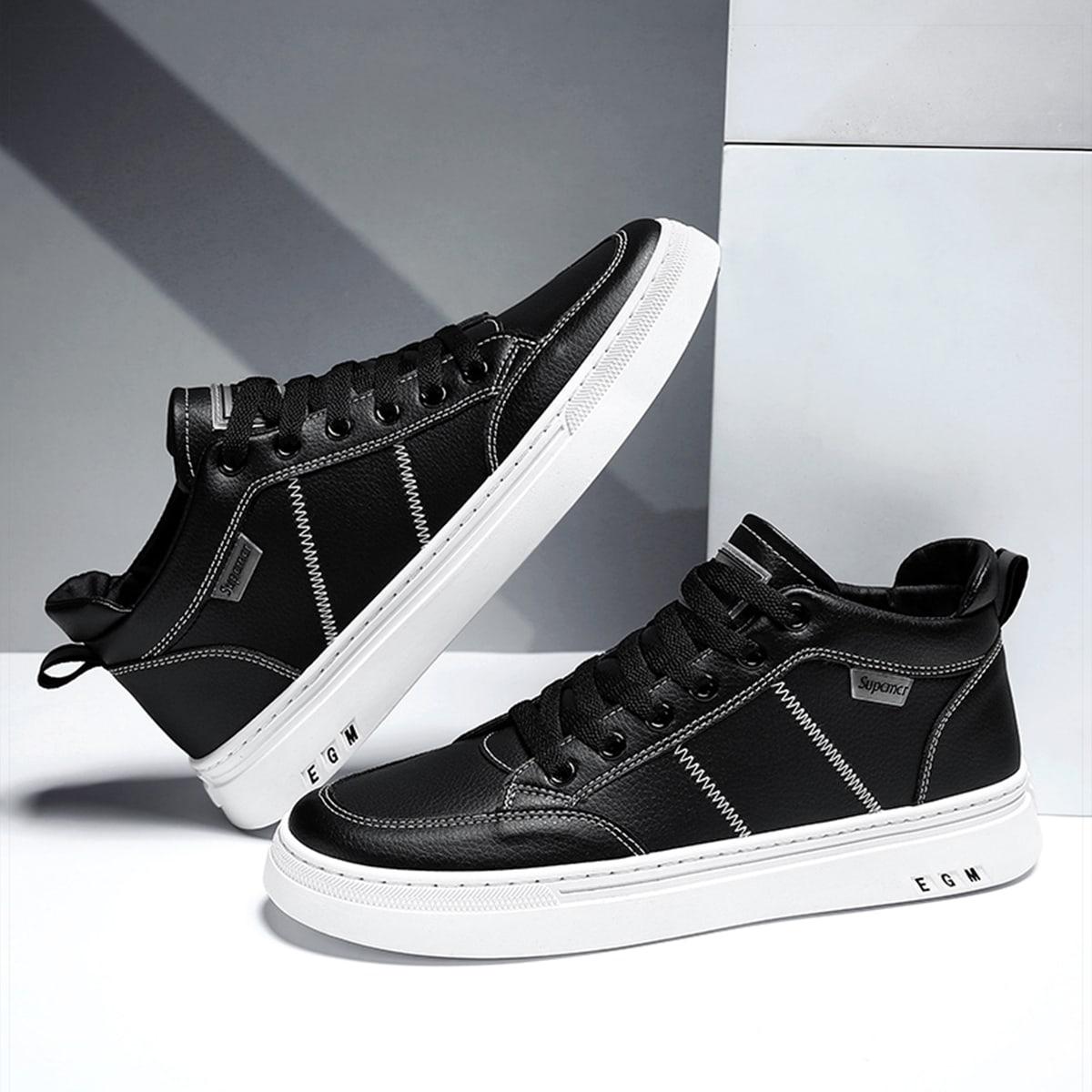 Men Stitch Detail High Top Skate Shoes