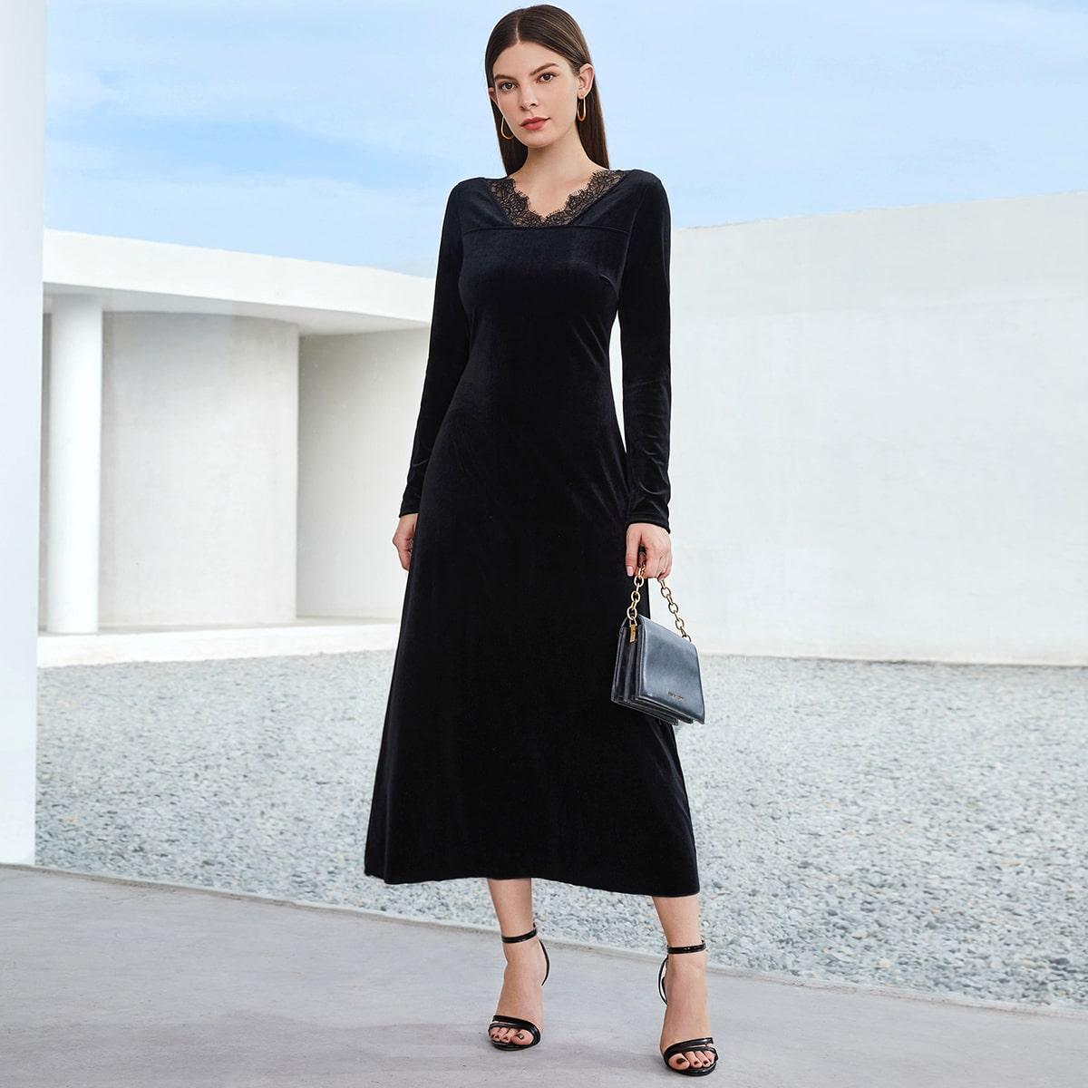 Контрастные кружева Одноцветный Элегантный Платье