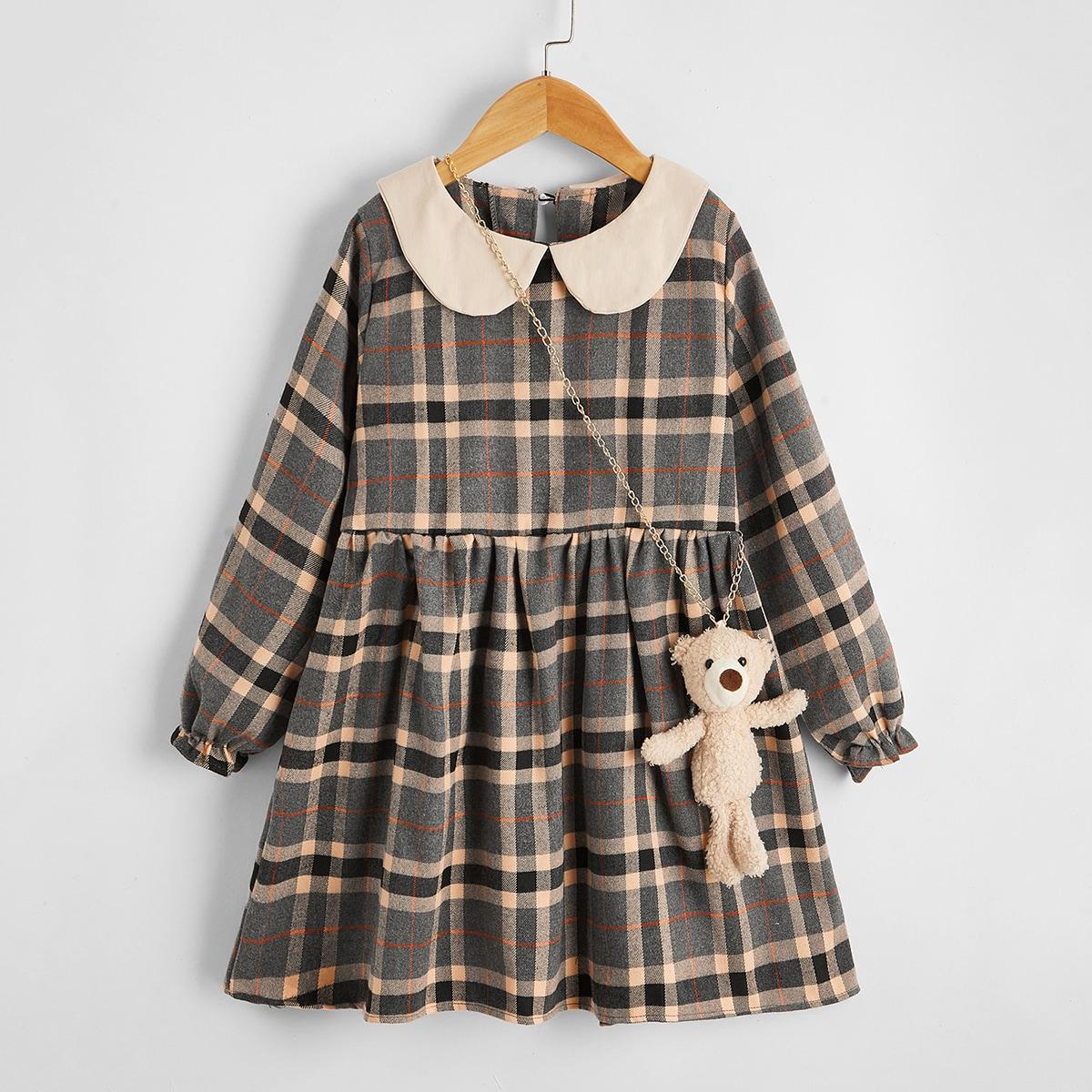 Babydoll Kleid mit Plaid Muster und Peter Pan Kragen & Teddy Ohr Design