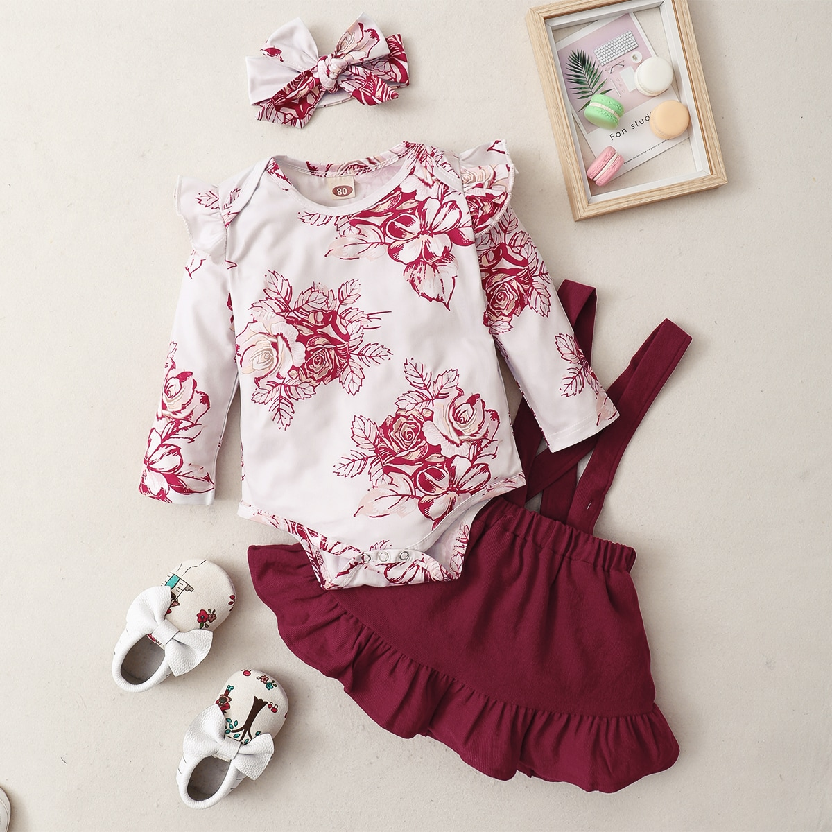 Baby Girl Floral Print Ruffle Trim Bodysuit & Suspender Skirt & Headband, SHEIN  - buy with discount