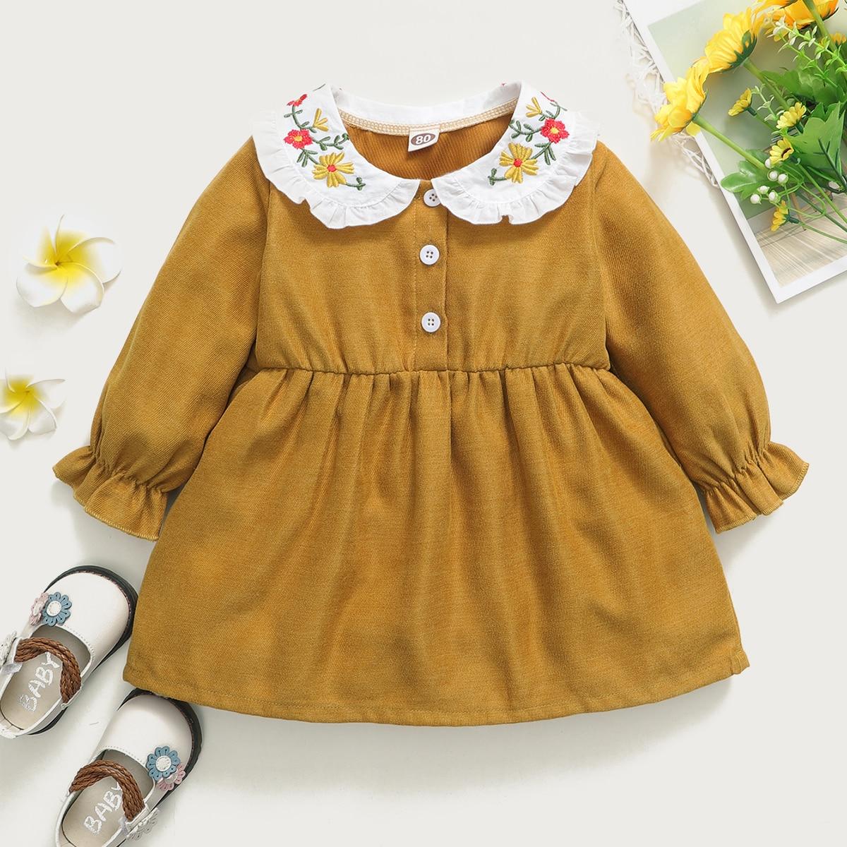с вышивкой Цветочный принт милый Платья для малышей от SHEIN