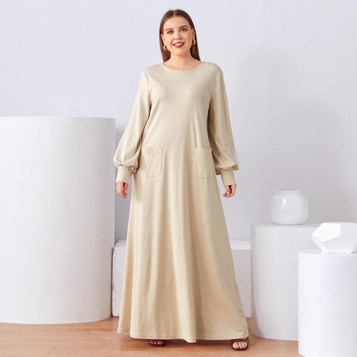 Карман Одноцветный Скромный Платья размер плюс