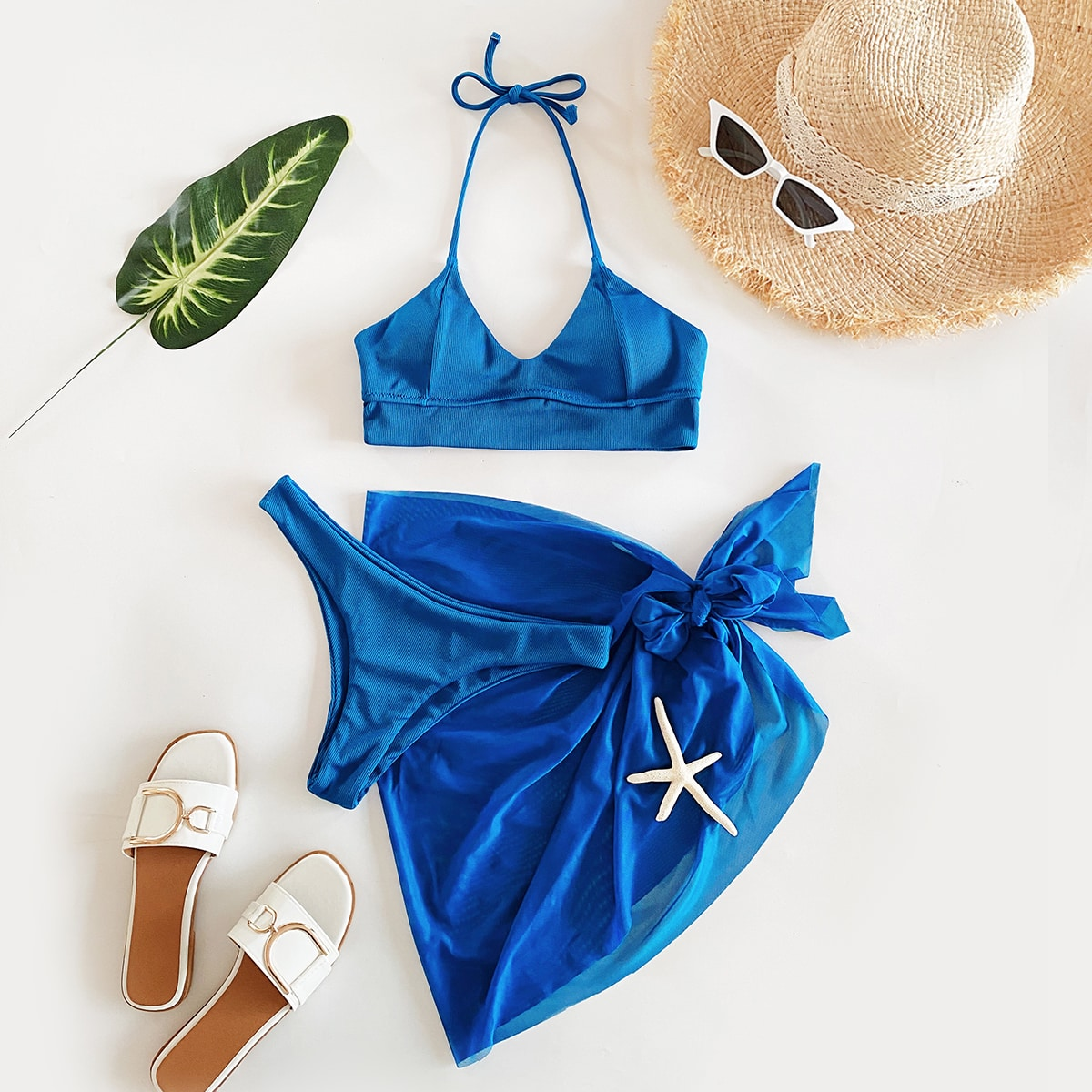 SHEIN / 3pack Rib Bikini Swimsuit & Mesh Beach Skirt