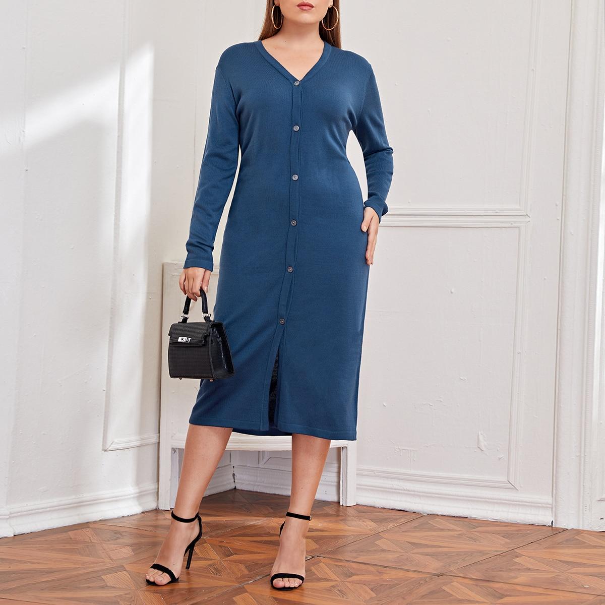 Пуговица Одноцветный Повседневный Свитер-платье размер плюс