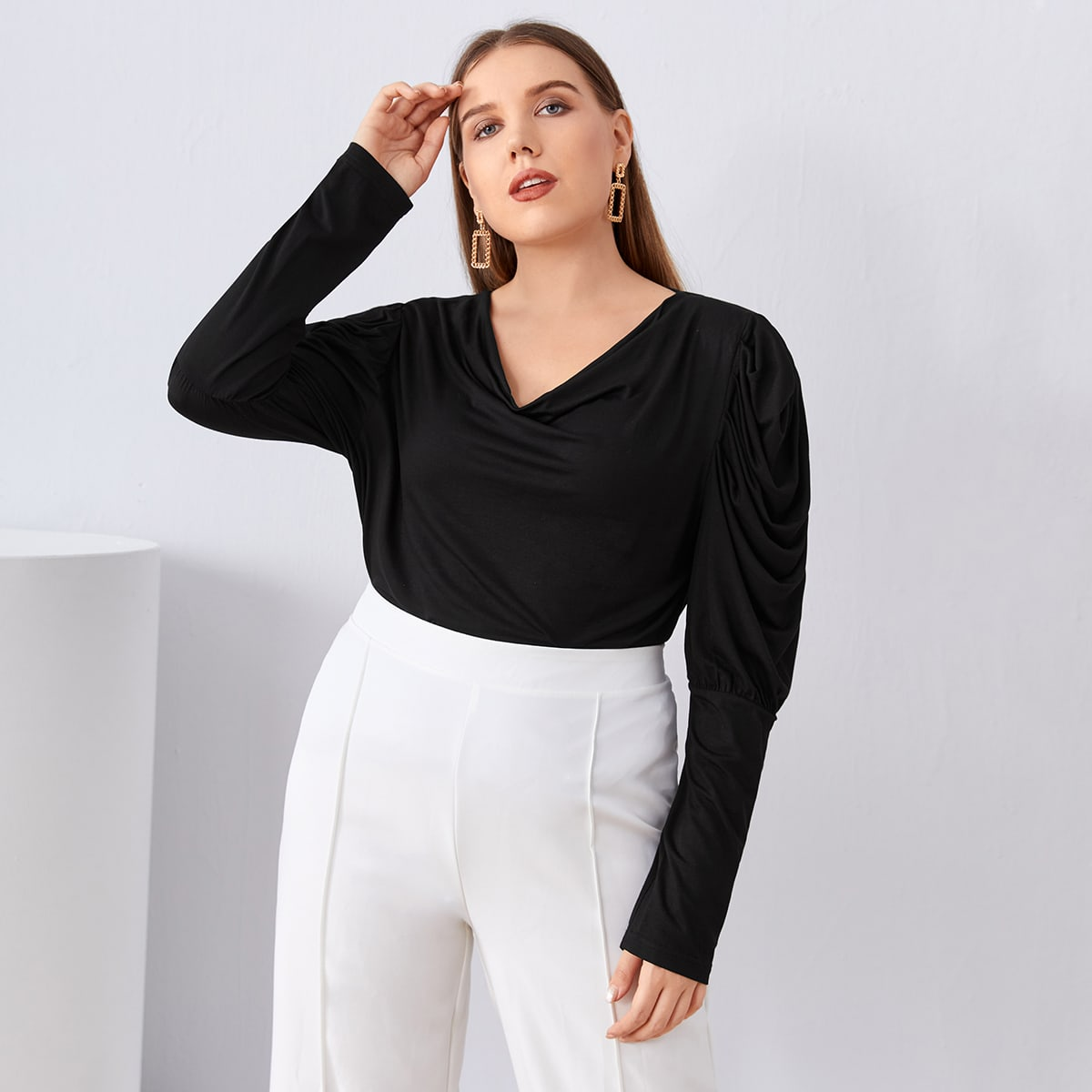 Plus Cowl Neck Ruched Sleeve Solid Tee