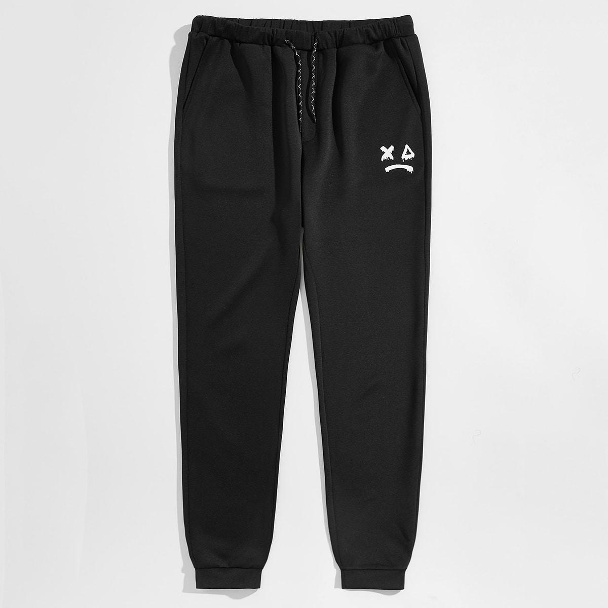 Карман графический принт институтский мужские брюки