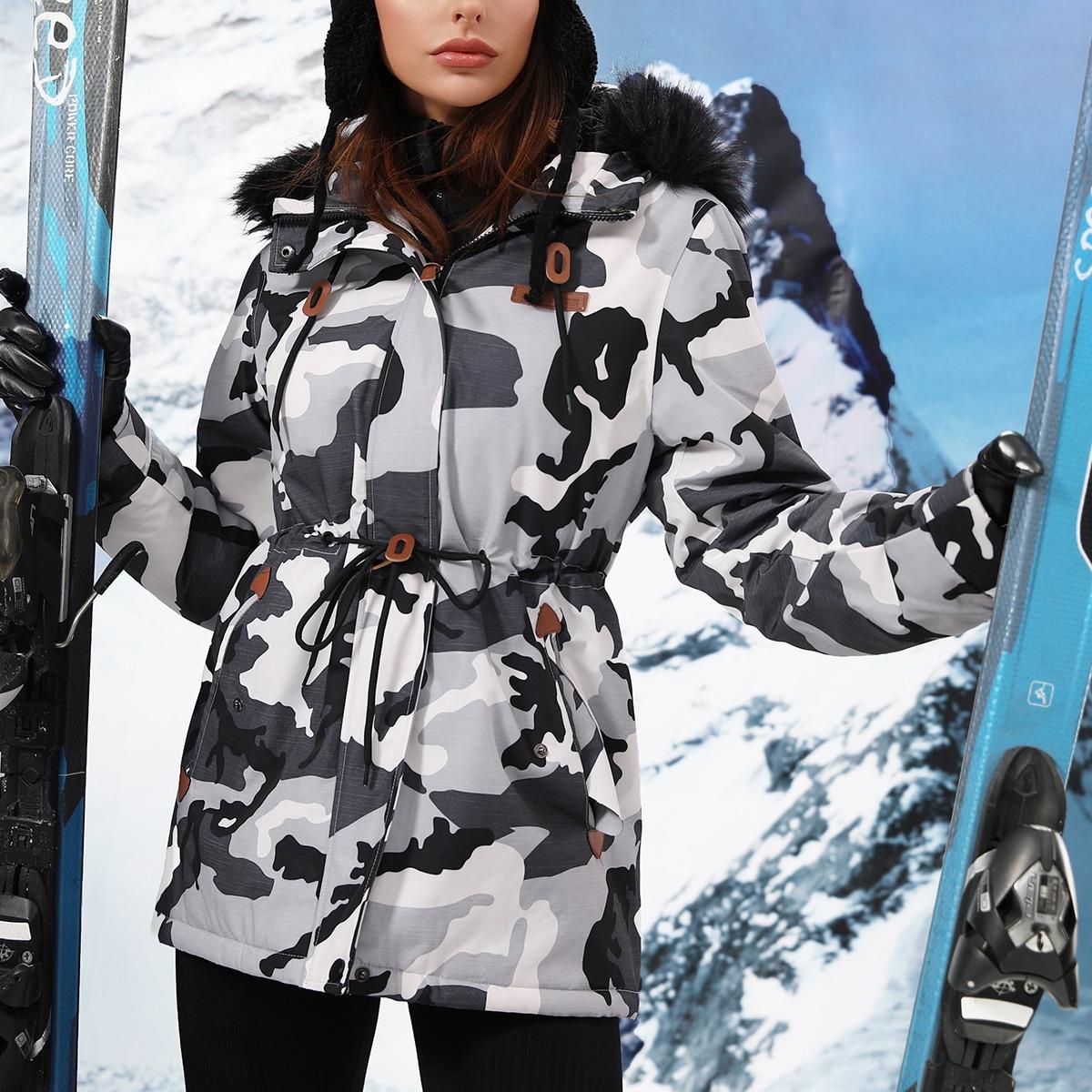 Водонепроницаемая спортивная куртка на кулиске с капюшоном и искусственным мехом