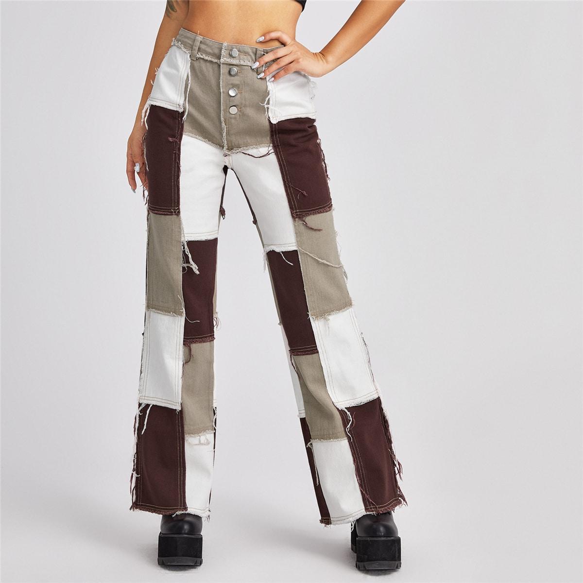 High Waist Button Fly Spliced Jeans