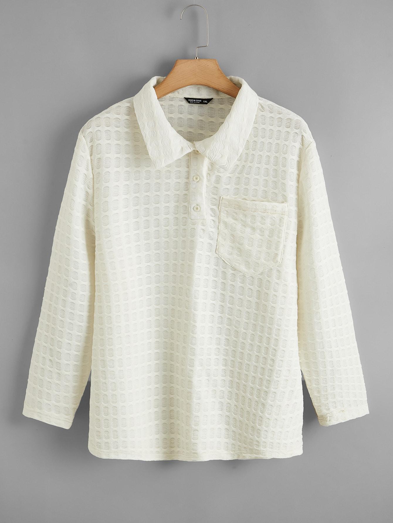 Plus Solid Textured Polo Shirt thumbnail