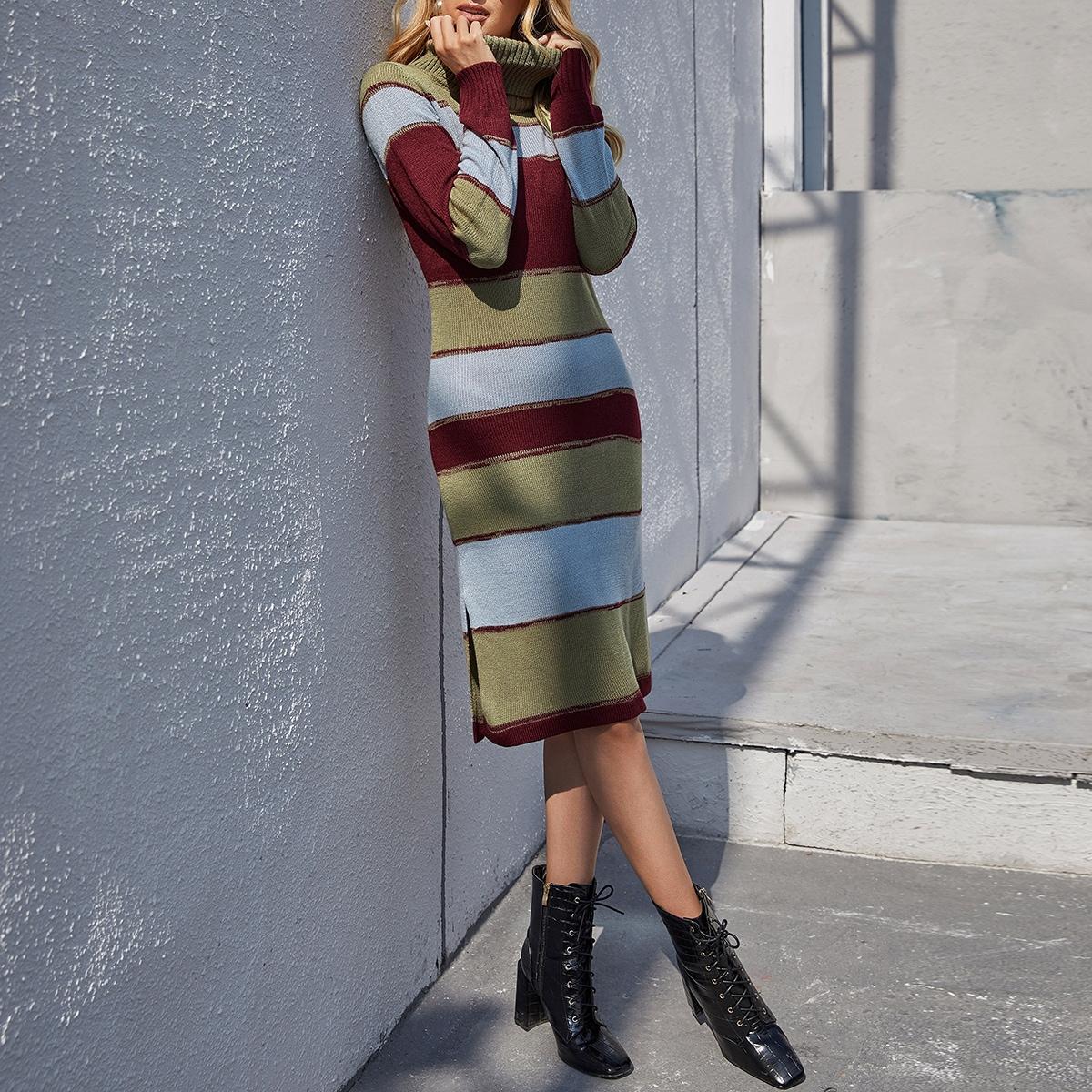 Slit Hem Turtleneck Color Block Sweater Dress