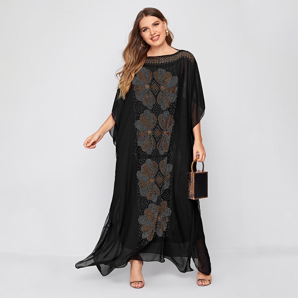 Платье макси размера плюс со стразами