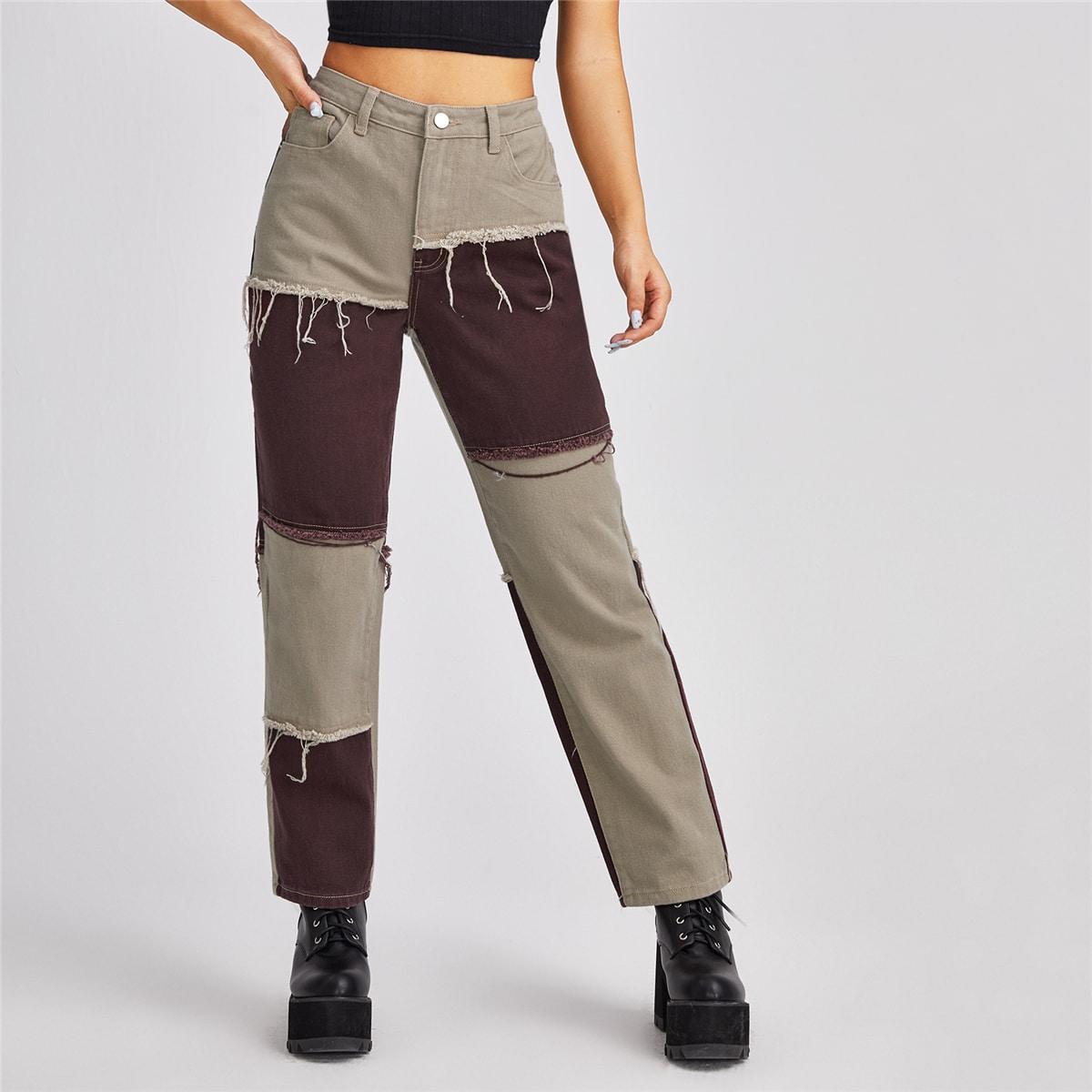 Контрастные короткие джинсы