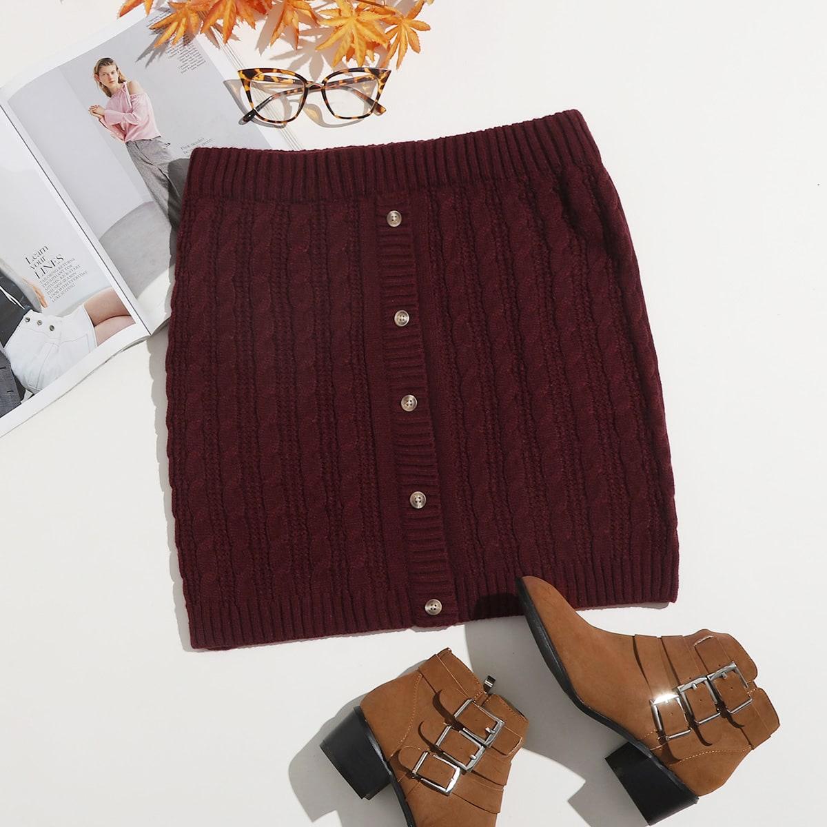 Пуговица одноцветный повседневный трикотажные юбки размер плюс