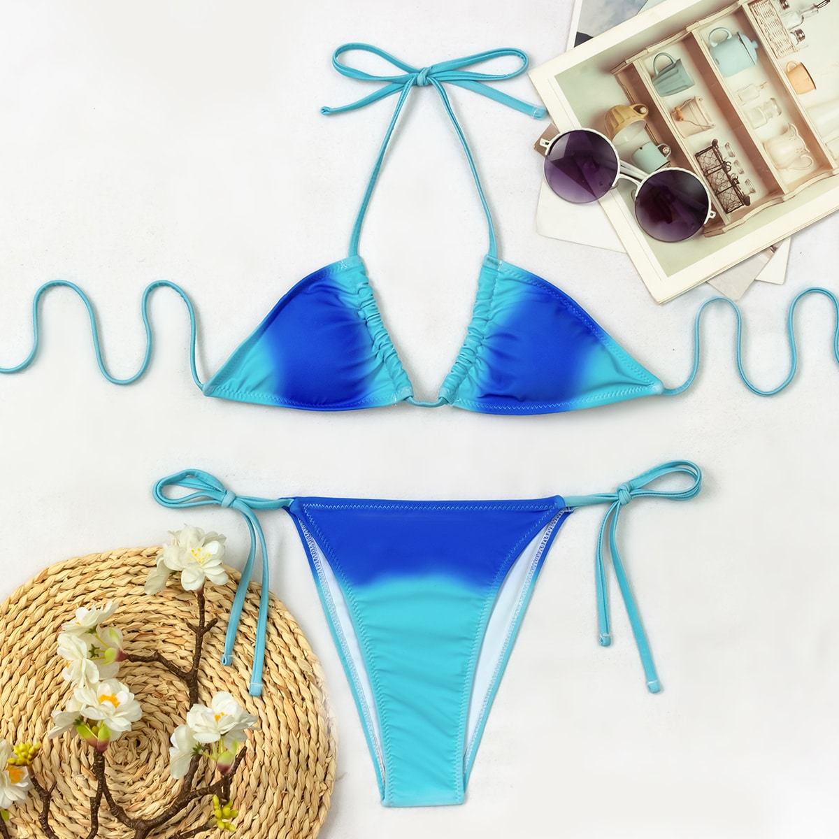 Ombre Halter Thong Bikini Swimsuit