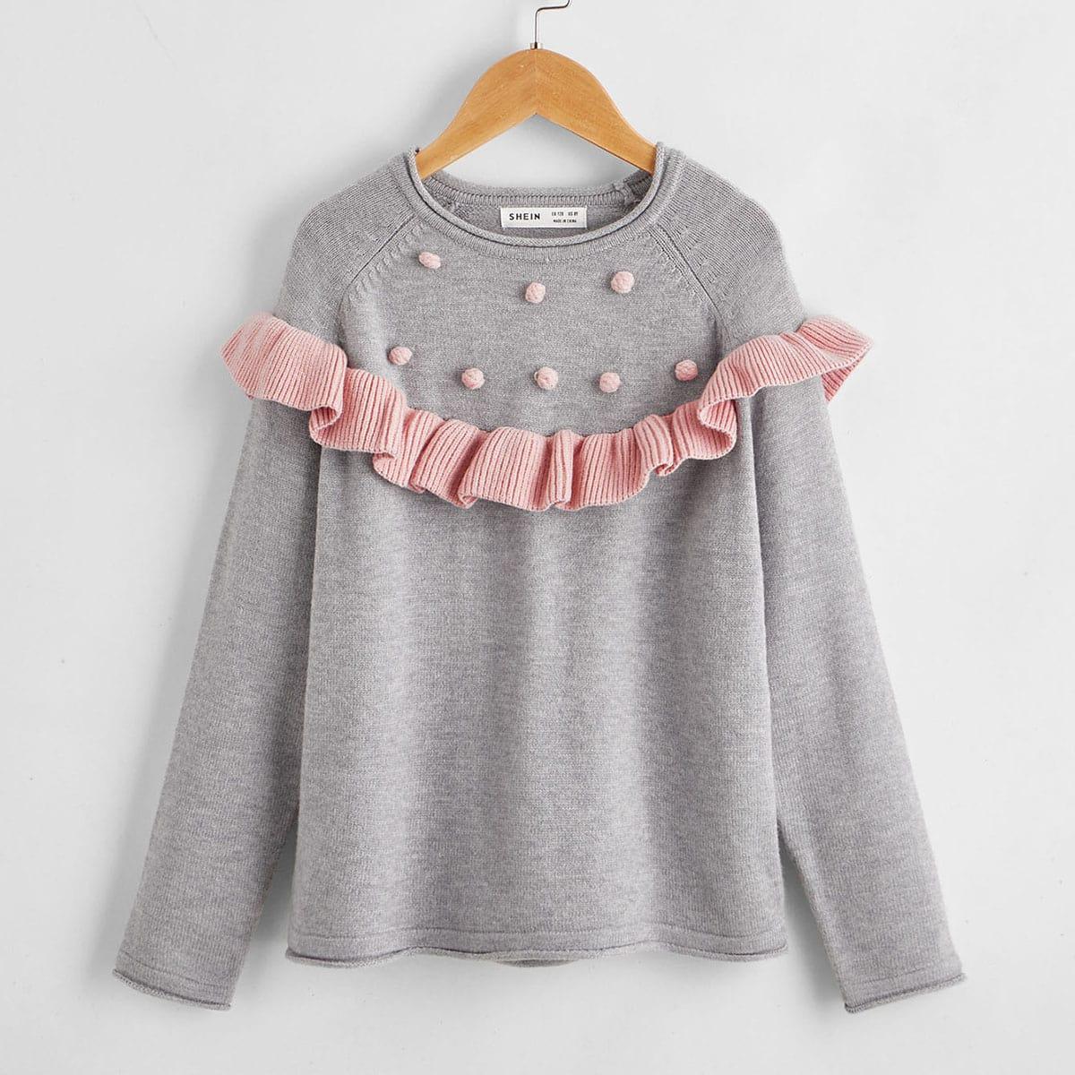 Помпон контрастный цвет повседневный свитера для девочек