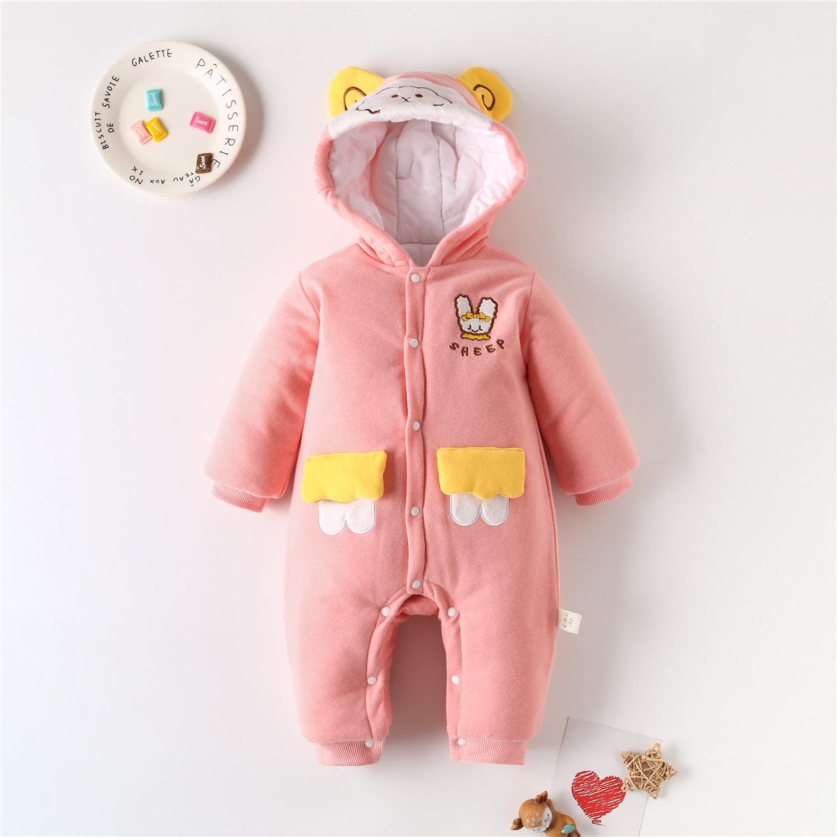 На пуговицах мультяшный принт костюм с дизайном  для малышей