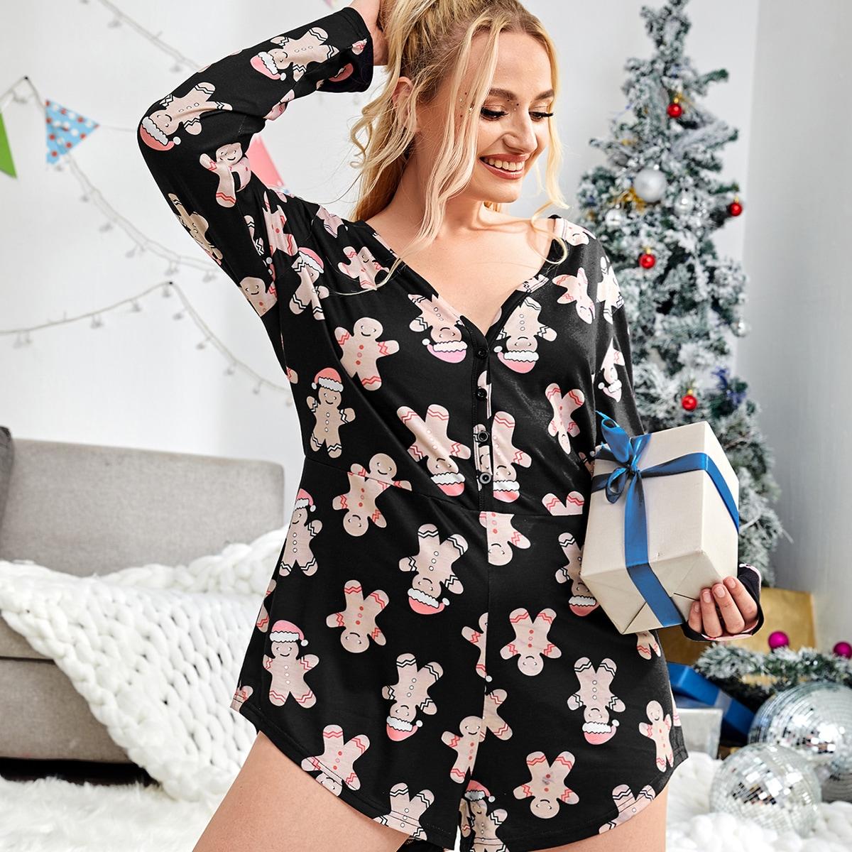 Пуговица рождество милый пижамный комбинезон размера плюс