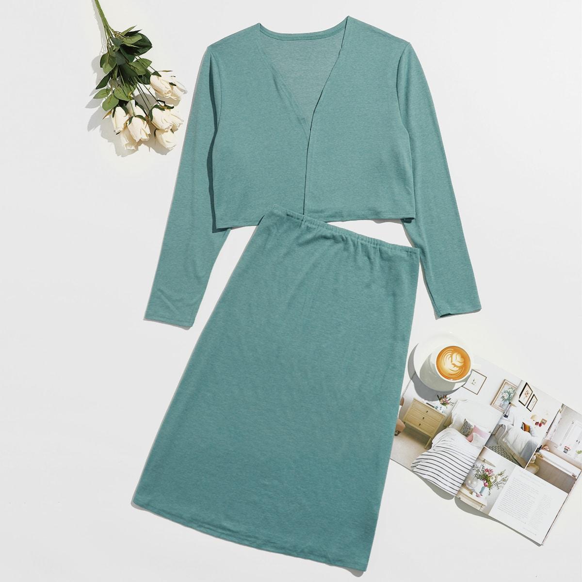 Одноцветный повседневный пижама размер плюс