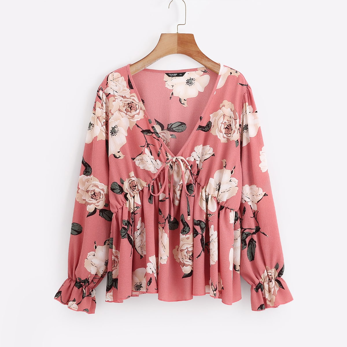 SHEIN Schattig Bloemen Grote maat blouse Geribd