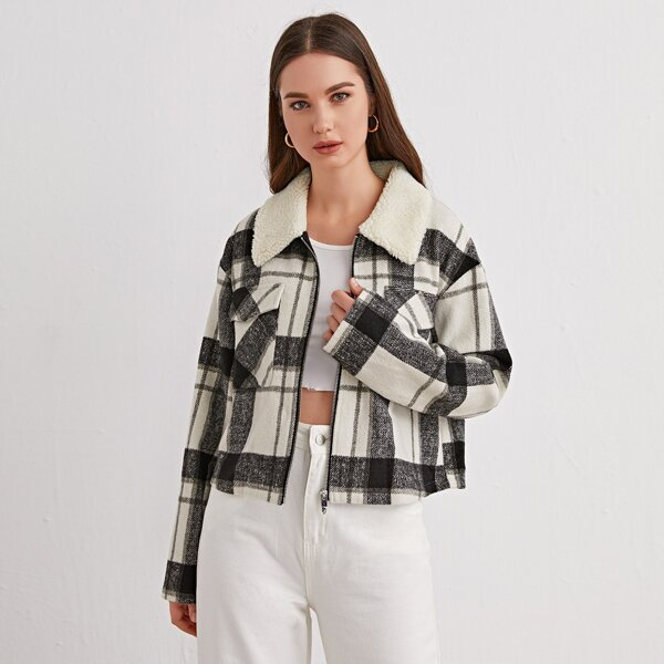 Plaid Contrast Collar Flap Pocket Jacket, Black and white