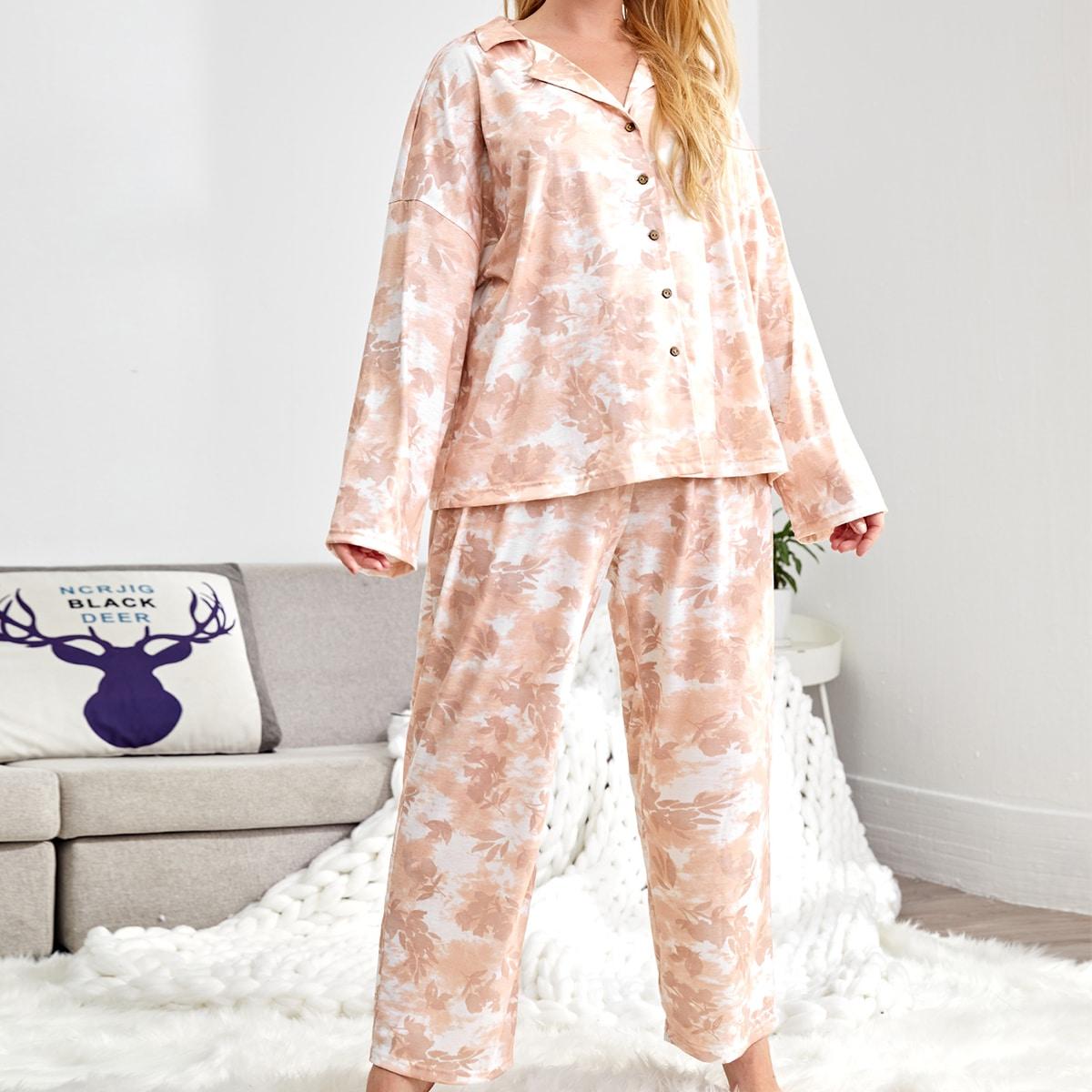 На пуговицах растения повседневный пижама размер плюс