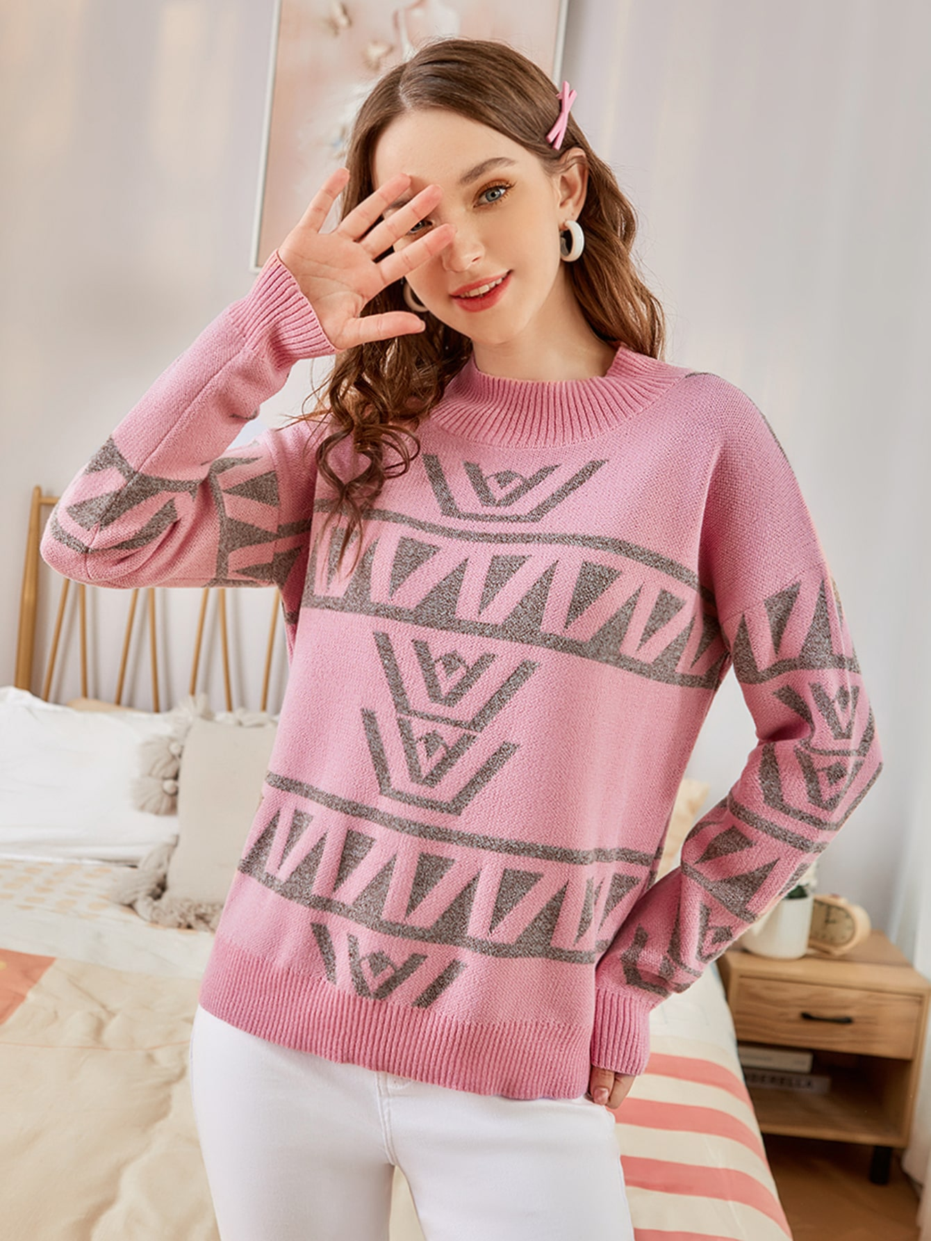Geo Pattern Drop Shoulder Sweater thumbnail