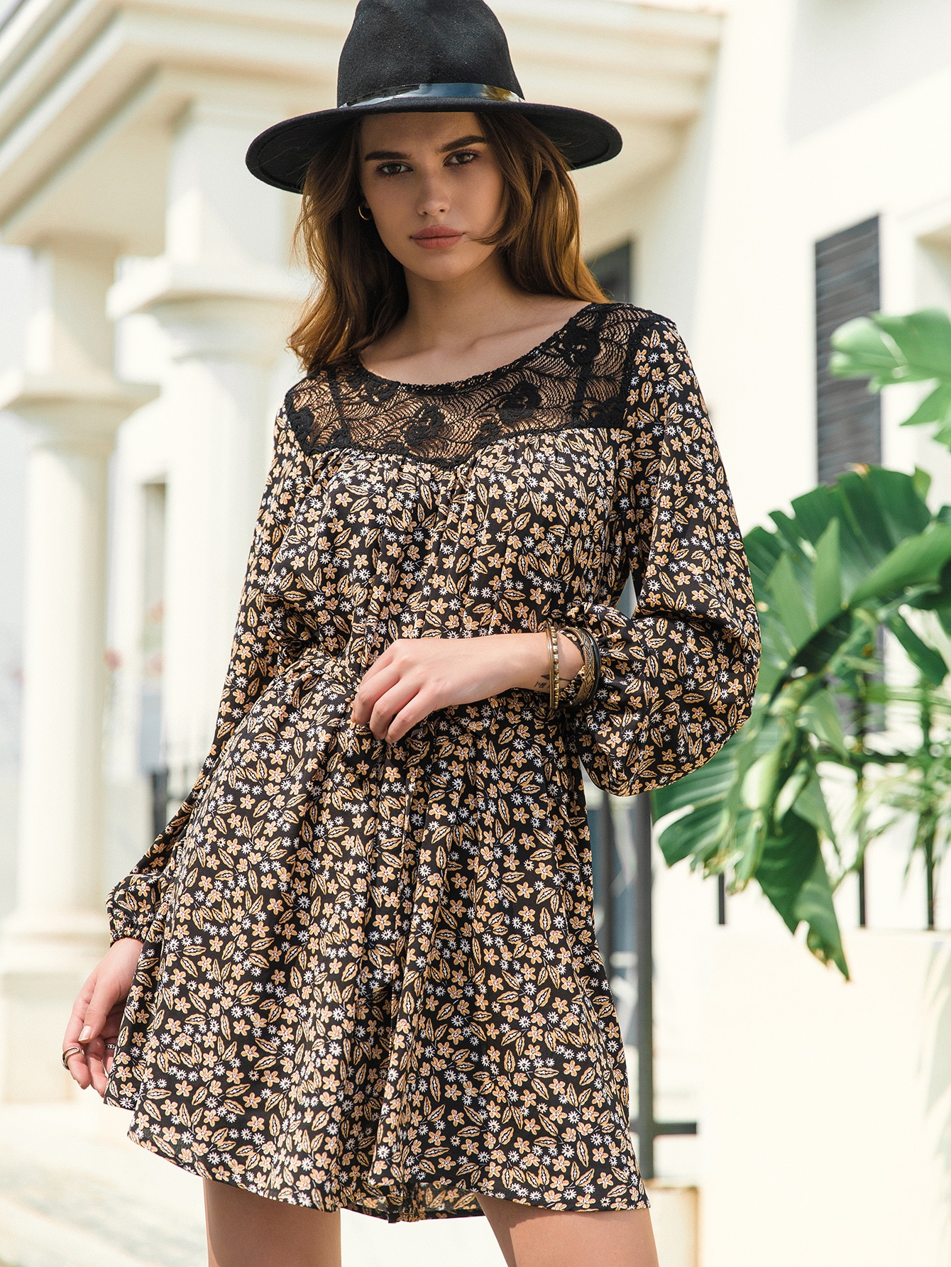 Lace Yoke Belted Ditsy Floral Print Dress thumbnail