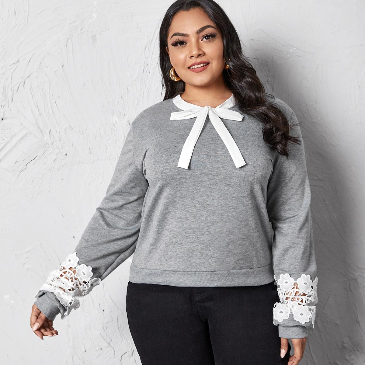 Plus Contrast Lace Tie Neck Sweatshirt