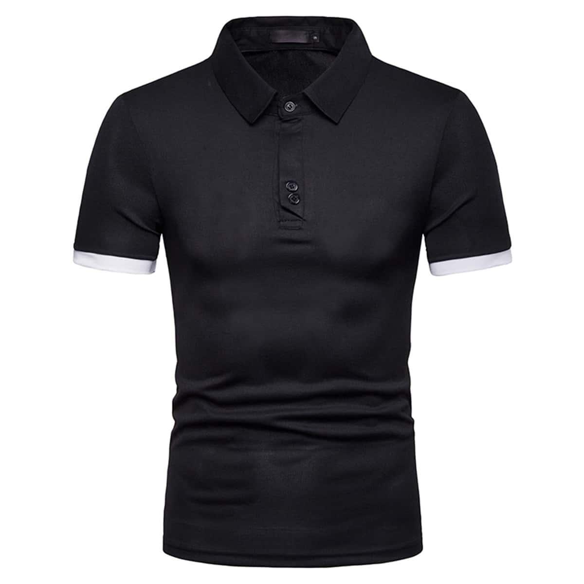Контрастная отделка повседневный мужская рубашка-поло