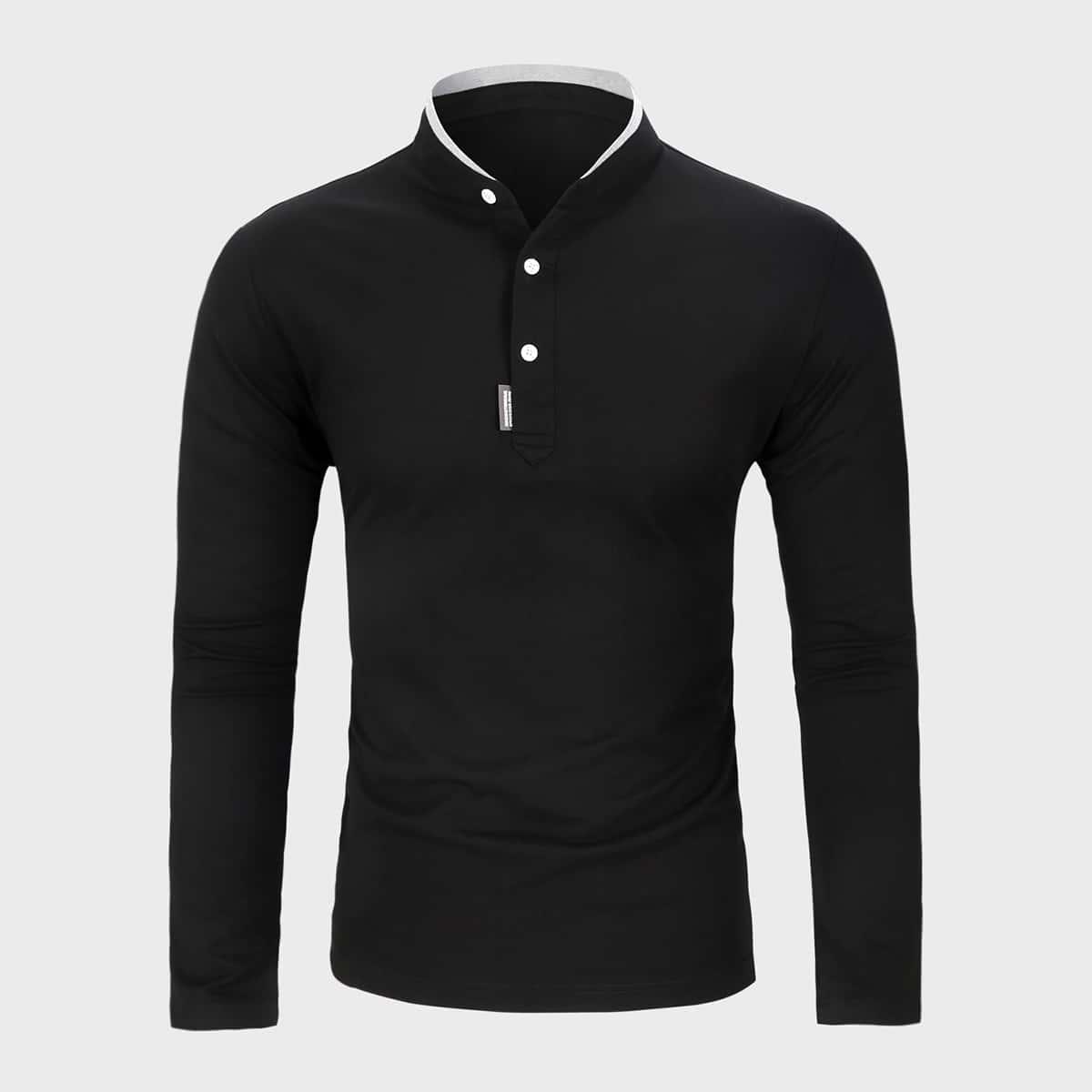 Пуговица повседневный мужская рубашка-поло