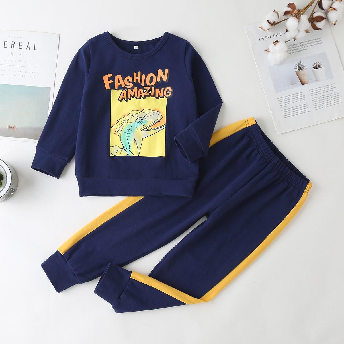 Свитшот с мультипликационным принтом и спортивные брюки для мальчиков