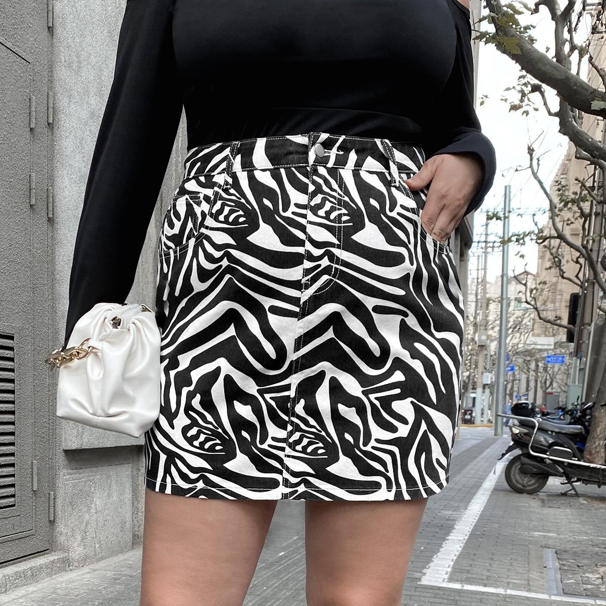 На молнии в полоску зебры джинсовые юбки размер плюс