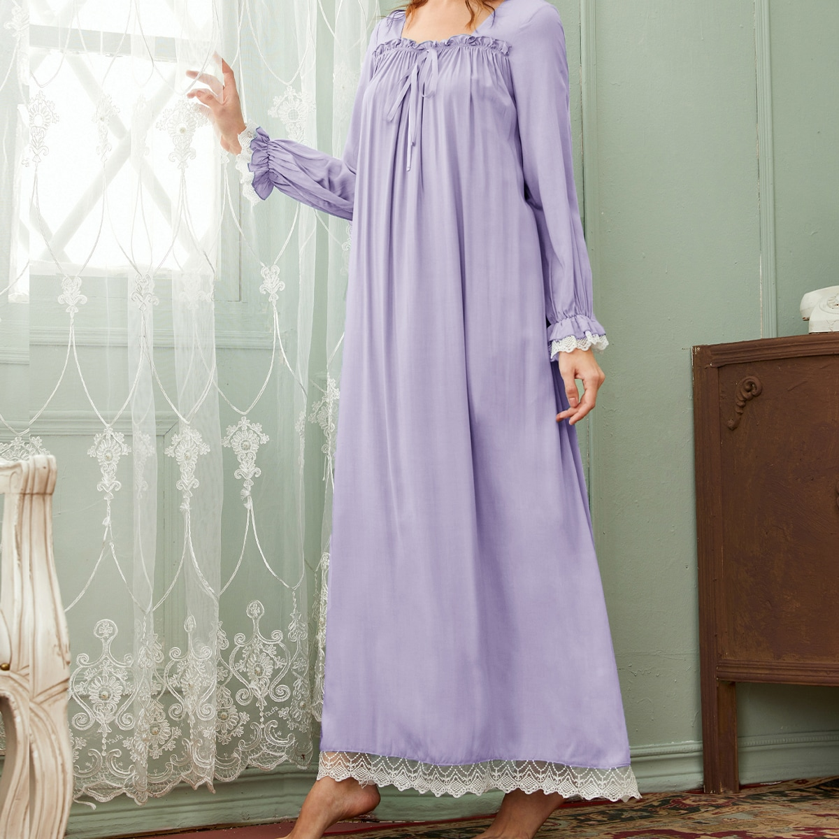 Tie Front Lace Trim Frill Night Dress