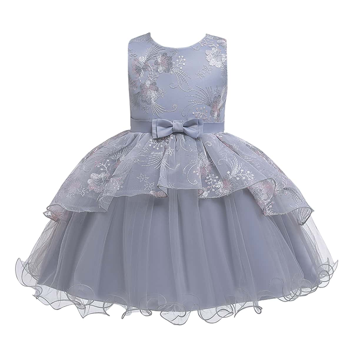 Многослойное сетчатое платье с бантом и вышивкой для девочек