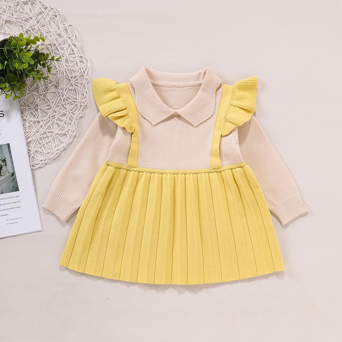 Плиссированное платье-свитер с оборкой для девочек