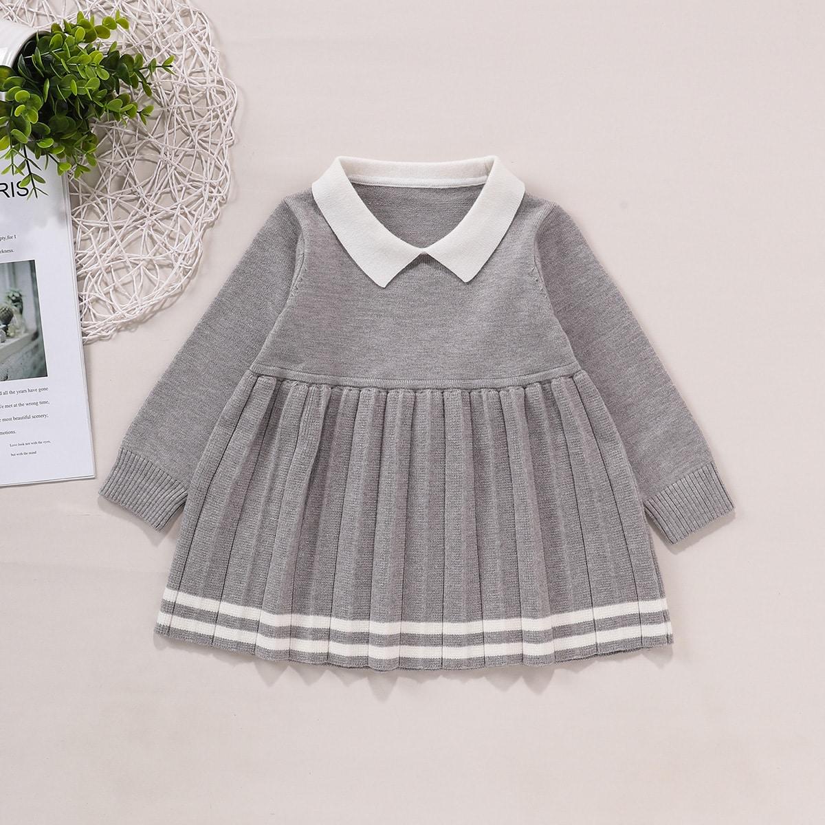 Плиссированное платье-свитер для девочек