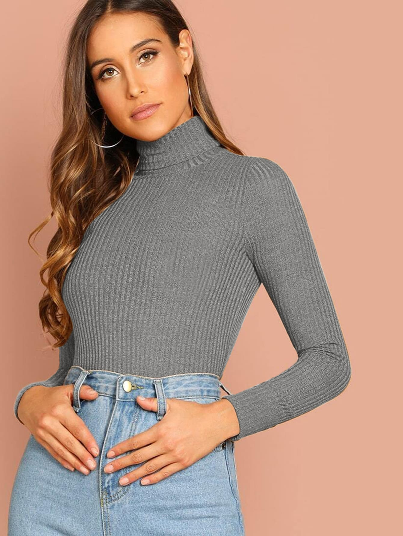 Turtle Neck Rib Knit Solid Top thumbnail