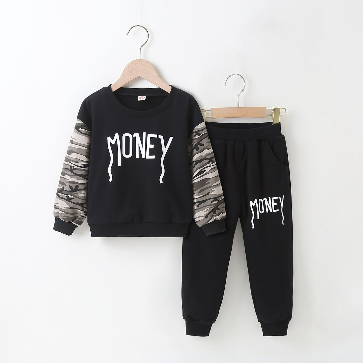 Свитшот и спортивные брюки с текстовым принтом для мальчиков