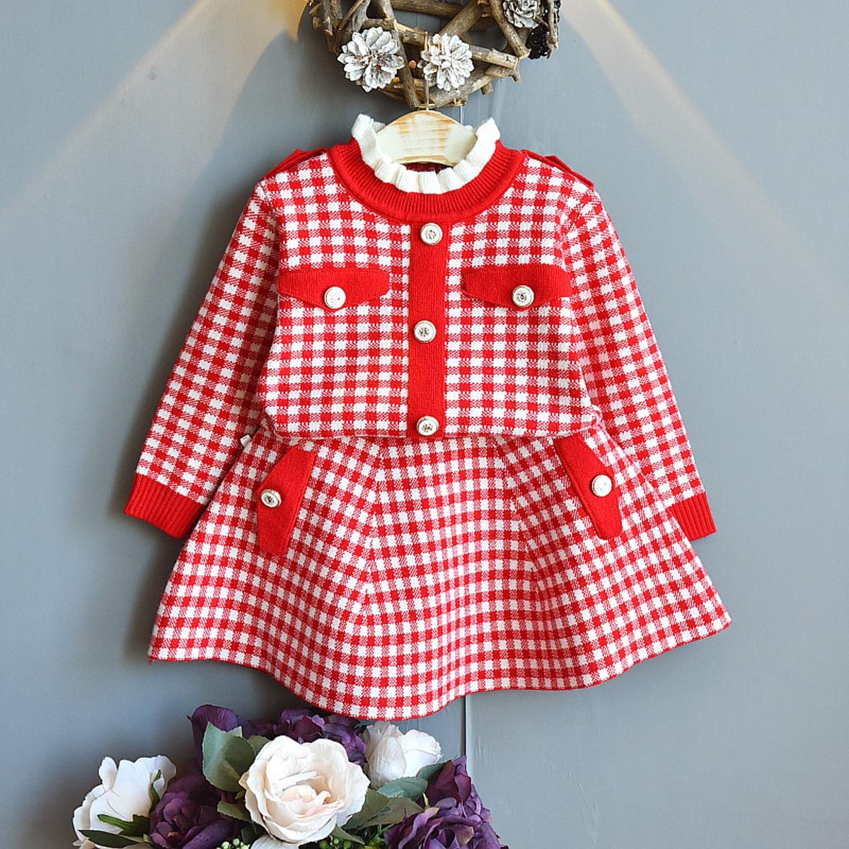 Свитер и трикотажная юбка в клетку для девочек
