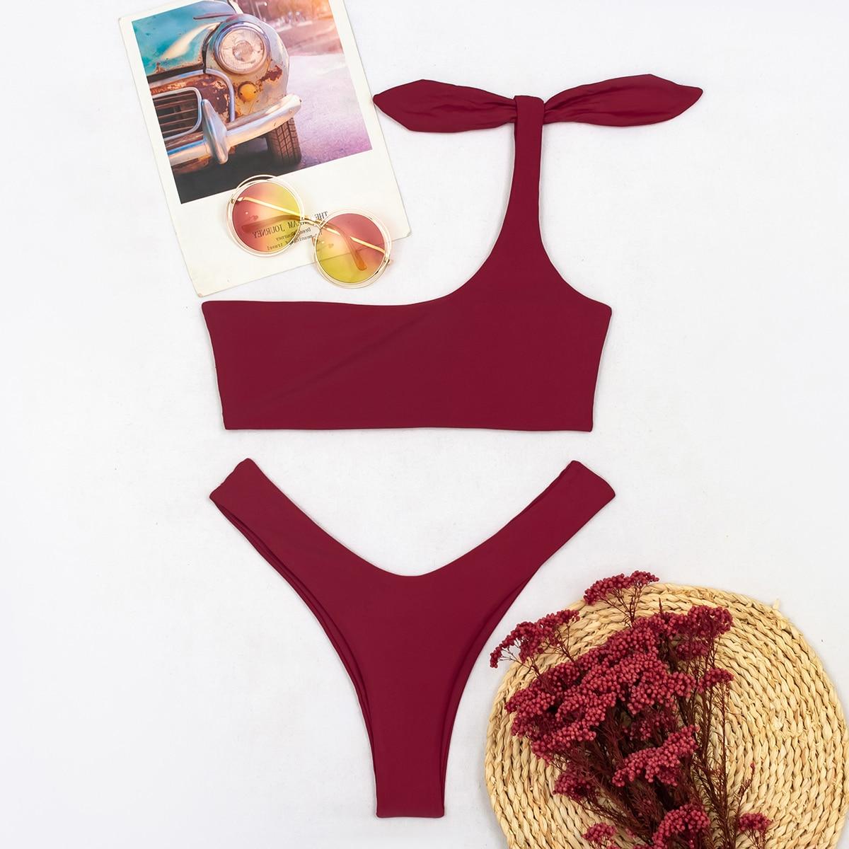 Knot Detail One Shoulder Bikini Swimsuit