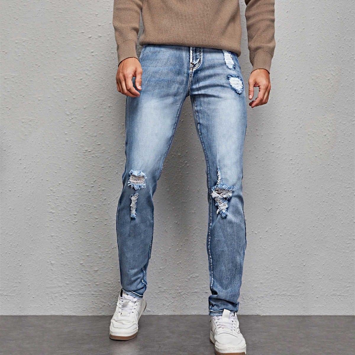 Разрезы одноцветный повседневный мужские джинсы